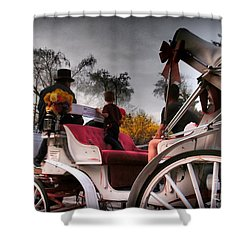 Central Park New York - Romantic Carriage Ride 2 Shower Curtain by Miriam Danar