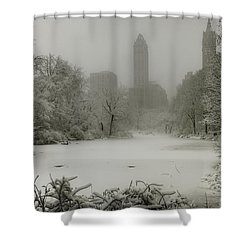 Shower Curtain featuring the photograph Central Park Snowstorm by Chris Lord