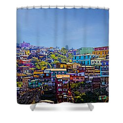 Cerro Artilleria Valparaiso Chile Shower Curtain