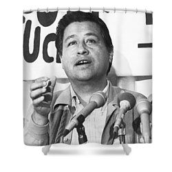 Cesar Chavez Announces Boycott Shower Curtain by Underwood Archives