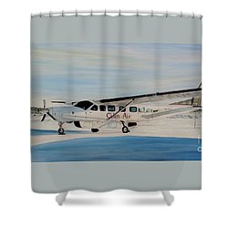 Shower Curtain featuring the painting Cessna 208 Caravan by Marilyn  McNish
