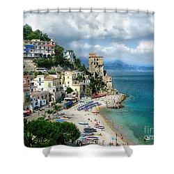 Cetara. Amalfi Coast Shower Curtain by Jennie Breeze