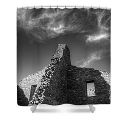 Chaco Canyon Pueblo Bonito Monochrome Shower Curtain by Bob Christopher