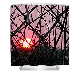 Shower Curtain featuring the photograph Chain Link Sunset by Jennie Breeze