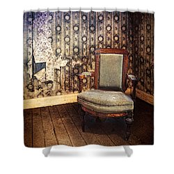 Chair In Abandoned Room Shower Curtain by Jill Battaglia