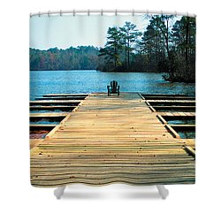 Chair On Dock By Jan Marvin Shower Curtain