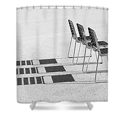 Chairs In The Sun Shower Curtain by Chevy Fleet