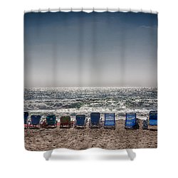 Chairs Watching The Sunset Shower Curtain by Peter Tellone