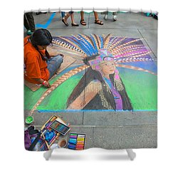 Pasadena Chalk Art - Street Photography Shower Curtain