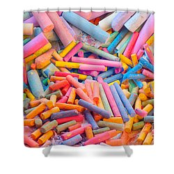 Chalk Colors Shower Curtain by Alixandra Mullins