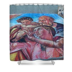 Chalk Painting By Street Artist Shower Curtain
