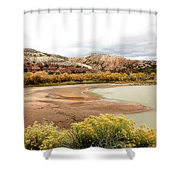 Shower Curtain featuring the photograph Chama River Swim Spot by Roselynne Broussard