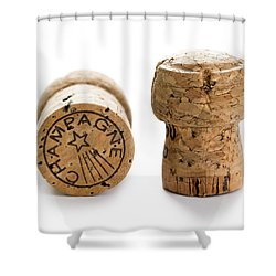 Shower Curtain featuring the photograph Champagne Corks by Lee Avison