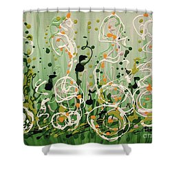 Shower Curtain featuring the painting Champagne Symphony by Holly Carmichael