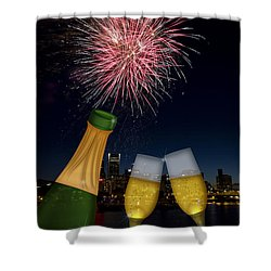 Champagne Toast With Portland Oregon Skyline Shower Curtain by Jit Lim