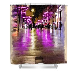 Champs Elysees In Pink Shower Curtain by Angela A Stanton