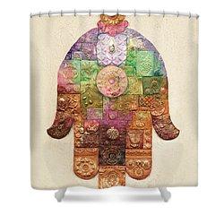 Chamsa Shower Curtain by Michoel Muchnik