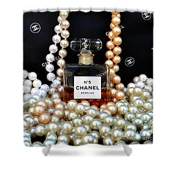 Chanel No 5 With Pearls Shower Curtain