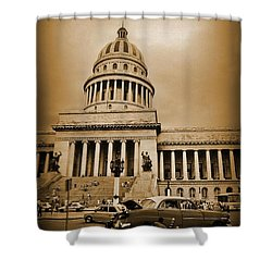Changing A Tire In Front Of The Capitol Building In Havana Shower Curtain by John Malone