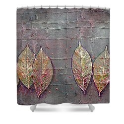Shower Curtain featuring the mixed media Changing Leaves by Phyllis Howard