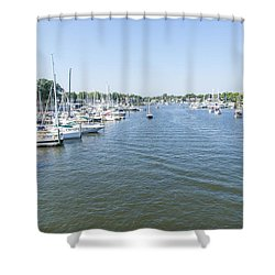 Channel Down Spa Creek Shower Curtain by Charles Kraus