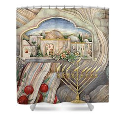 Chanukah Shower Curtain by Michoel Muchnik