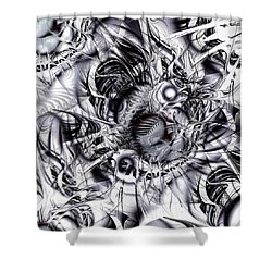 Chaotic Space Shower Curtain by Anastasiya Malakhova