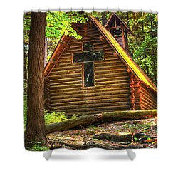 Chapel In The Pines Shower Curtain by Randy Pollard