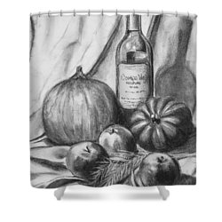 Shower Curtain featuring the drawing Charcoal Still Life Harvest by Dee Dee  Whittle