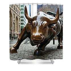 Charging Bull 1 Shower Curtain by Nishanth Gopinathan