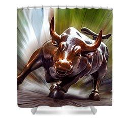 Charging Bull Shower Curtain by Az Jackson