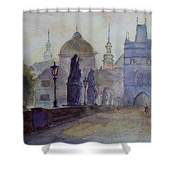 Charles Bridge Prague Shower Curtain by Xueling Zou