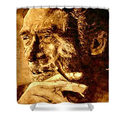Charles Bukowski - The Love Version Shower Curtain by Richard Tito