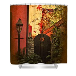 Shower Curtain featuring the photograph Charleston Garden Entrance by Kathy Baccari