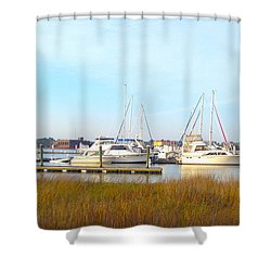 Charleston Harbor Boats Shower Curtain by M West