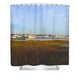 Charleston Harbor Panorama Shower Curtain by M West