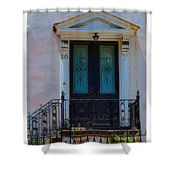 Charleston Wood Door Etched Glass Shower Curtain