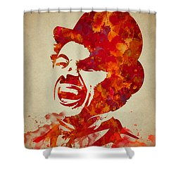 Charlie Chaplin Watercolor Painting Shower Curtain