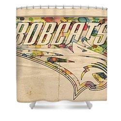 Charlotte Bobcats Vintage Poster Shower Curtain by Florian Rodarte