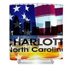 Charlotte Nc Patriotic Large Cityscape Shower Curtain by Angelina Vick
