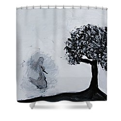 Shower Curtain featuring the painting Charlotte's Grave by Lola Connelly