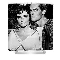 Charlton Heston And Marina Berti Shower Curtain by Mountain Dreams