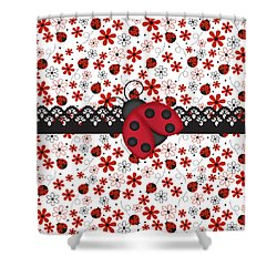 Charming Ladybugs Shower Curtain by Debra  Miller