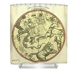Chart Of The Constellations Shower Curtain by Underwood Archives