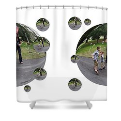 Chasing Bubbles - Cross Your Eyes And Focus On The Middle Image That Appears Shower Curtain by Brian Wallace