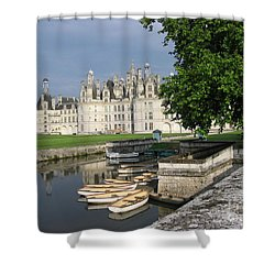 Chateau Chambord Boating Shower Curtain by HEVi FineArt