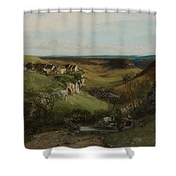 Chateau Dornans Shower Curtain by Gustave Courbet