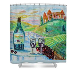Chateau Wine Shower Curtain by Diane Pape