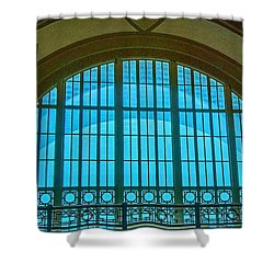 Shower Curtain featuring the photograph Chattanooga Train Depot Stained Glass Window by Susan  McMenamin
