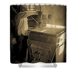 Checking The Maple Syrup Shower Curtain by Edward Fielding